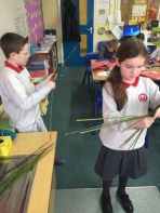 Making St Brigid's crosses