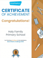 Holy Family 'March Mathletics Winners'