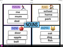 P3 Seesaw focus on Nouns, Verbs and Adjectives